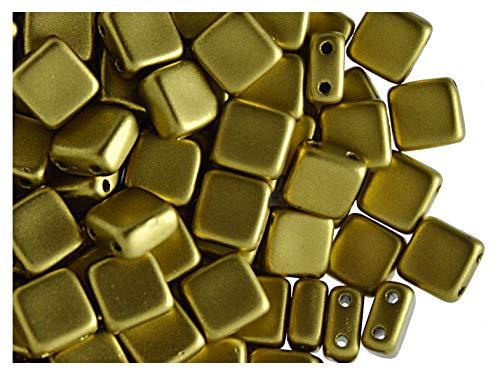 40pcs Tschechische Glasperlen Tile Zwei-Loch, Flach Platz 6x6x2.9mm, Terra Metallic Olivine Gold