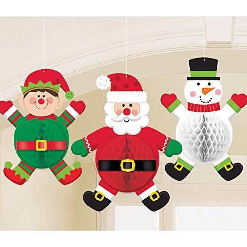 3 Christmas Honeycomb 3D Hanging Snowman, Elf & Santa Party Decorations