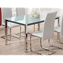 Mesa para comedor fija de cristal templado blanco con patas cromadas 140x90cm