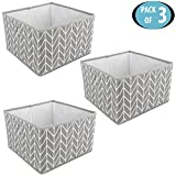#10: HomeStorie™ Canvas Foldable Storage Bin Basket For Office, Home Closet, Pack of 3, Medium
