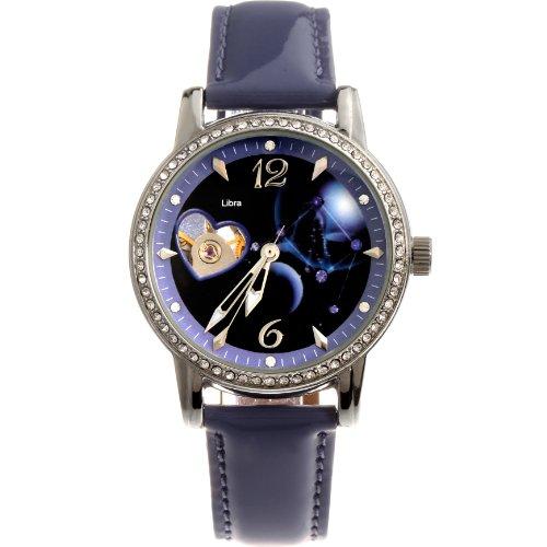 Time100 Montre mécanique automatique Squelette Bracelet Cuir la Balance de la Série de Constellation cadeau pour femmes et filles