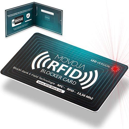 RFID Blocker Karte mit LED Indikator Technologie | Neuster Störsender | Deutsche Marke | Keine Reststrahlung | 100% Schutz Dank E-Field | Keine Schutzhüllen mehr | Kredit-Karte EC Bank NFC 13,56 MHz