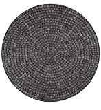 Nimara Isla Teppich rund | Filzkugelteppich aus 100% Wolle | Runder Teppich Ø 160 cm und Ø 90 cm | Wohnzimmerteppich, Kinderzimmerteppich aus Filzkugeln | Runde Teppiche in Schwarz/Grau (Ø160)
