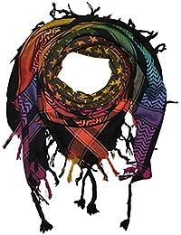 Superfreak® Pañuelo pali con estampado de estrellas°chal PLO°100x100 cm°Pañuelo palestino Arafat°100% algodón – negro/multicolor1