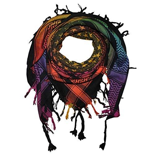 Freak Scene Superfreak® Pañuelo pali con estampado de estrellas°chal PLO°100x100 cm°Pañuelo palestino Arafat°100% algodón – negro/multicolor1