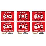 Tiiwee Adesivi di Allarme di Sicurezza Domestica - Rosso - 2 x Rivestito UV - Stratificato Extra - Formato 70mm x 50mm - All'Aperto - Set di 6 Etichette