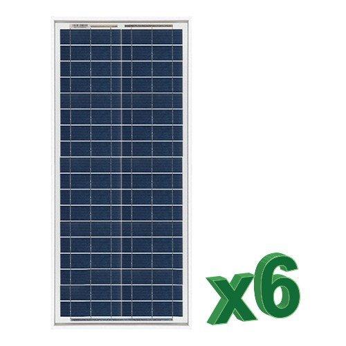 Conjunto de 6 Placa Solar Fotovoltaico 30W Total 180W Policristalino Placa Solar Fotovoltaico 30W en silicio policristalino, ideal para abastecer a campistas, barcos, cabañas, casas de campo, sistemas de videovigilancia, puentes de radio, etc.  Cara...