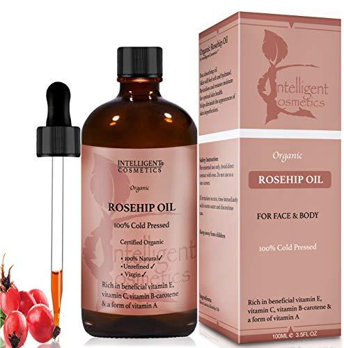 Olio puro di rosa mosqueta, 100% organico e spremuto a freddo, l'olio più noto per il viso con vitamina E, vitamina C, B-carotene e a forma di vitamina A (100ml)