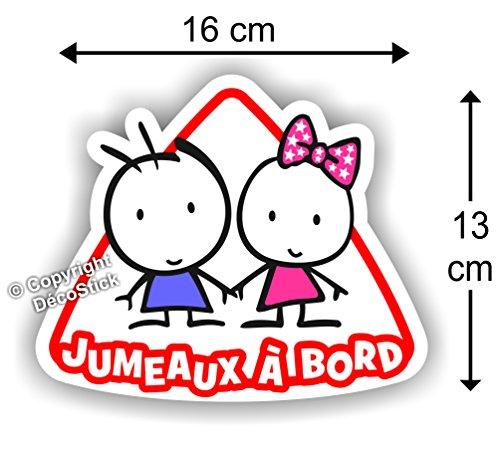 Jumeaux à bord Fille / Garçon - Sticker Autocollant bébé à bord modèle 1