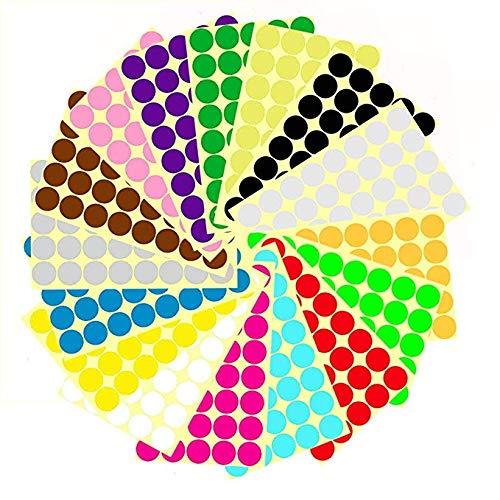 Farbige Punkte,16mm Punkt-Aufkleber 14 Farben 1512 Klebepunkte Runde Dot Aufkleber für Farbkodierungskalender, DVDs, Sch