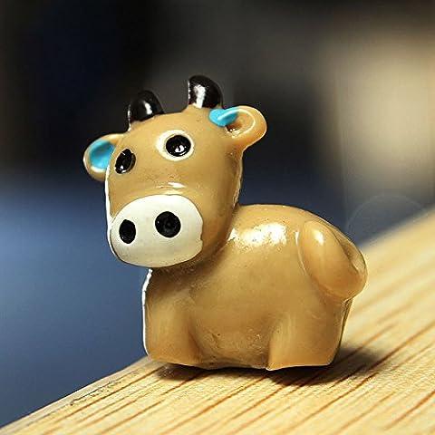 Bluelover Micro mini paisaje decoración resina decoración vaca jardín BRICOLAJE-café