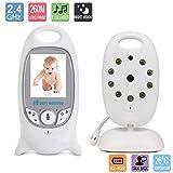 Babyphone Video Baby Monitor Videophone mit Kamera 2,0-LCD Bildschirm Wireless Live Kamera mit Nachtsicht Temp Sensor Temperaturüberwachung Talk-Back Zwei-Wege Audio Band EU Plug (Temperatursensor, Eingebautes 8 Wiegenlied, Nachtsicht, Gegensprechfunktion,weiß)
