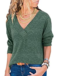 DanceWhale Damen Pullover Lose Einfarbig V-Ausschnitt Langarmshirt Oversized Strick Oberteile Tshirt Bluse Tops