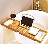 Harcas Premium Bamboo Bath Tray Rack Gorgeous Extendable Bathtub Caddy with Wine Glass Holder and iPad Holder/Book Rest. Perfect for Relaxing While Winding Down For The Day. Fits Most Bathtubs