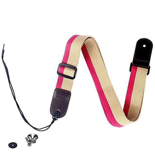 Fashion Bright color arcobaleno Djustable 100% cotone e tracolla in vera pelle tracolla per ukulele, CreamI&red