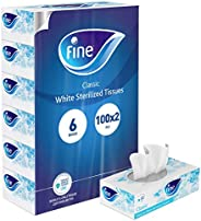 Fine, Facial Tissues, Classic, 100x2 Ply White Tissues, pack of 6 boxes, 600 tissues