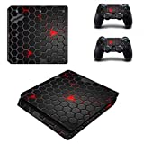 DOTBUY PS4 Slim Vinyl Decal Full Body Skin Sticker For Sony Playstation 4 Slim Console And 2 Dualshock Controllers (Dark Honeycomb)