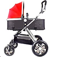 Heay Infant Baby Stroller For Newborn And Toddler,Anti-Shock Pushchair With Aluminum Frame,Convertible Pram With 5-Point Harness,Compact Single Baby Carriage, Red