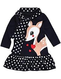 Kobay Kleinkind Baby Mädchen Kinder Kleidung Langarm Dot Deer Tops T-Shirt Kleid