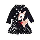 Kobay Kleinkind Baby Mädchen Kinder Kleidung Langarm Dot Deer Tops T-Shirt Kleid (90/1.5Jahr, Dunkelblau)