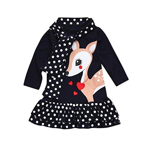 Kobay Kleinkind Baby Mädchen Kinder Kleidung Langarm Dot Deer Tops T-Shirt Kleid (80/1Jahr, Dunkelblau) -