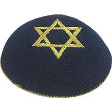 Mit Schema Israel bestickte geh/äkelte Kippa j/üdische Jarmulke Sch/ädeldecke