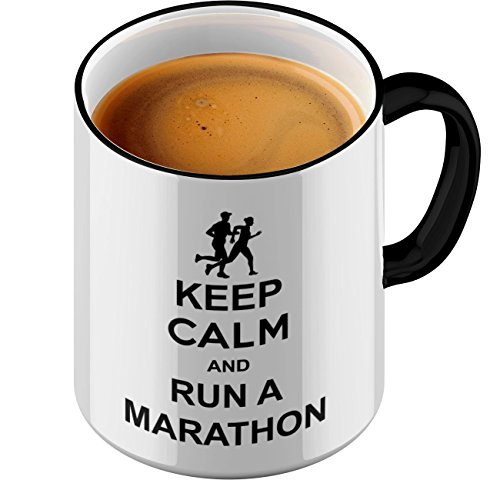 Funtasstic Tasse Keep Calm and run a Marathon - Kaffeepott Kaffeebecher by StyloTex (Bell Buck V)