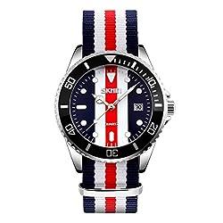 Skmei Nylon strap Classic Design stainless Steel Analog Watch -9133 Blue