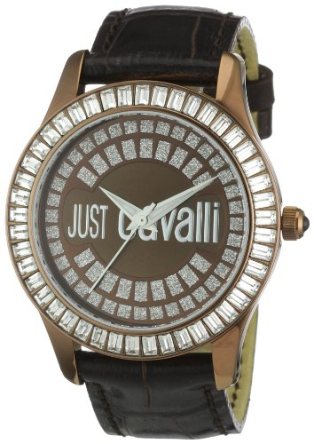 Just Cavalli Ladies Ice Analogue Watch R7251169055 with Quartz Movement, Leather Bracelet and Brown Dial