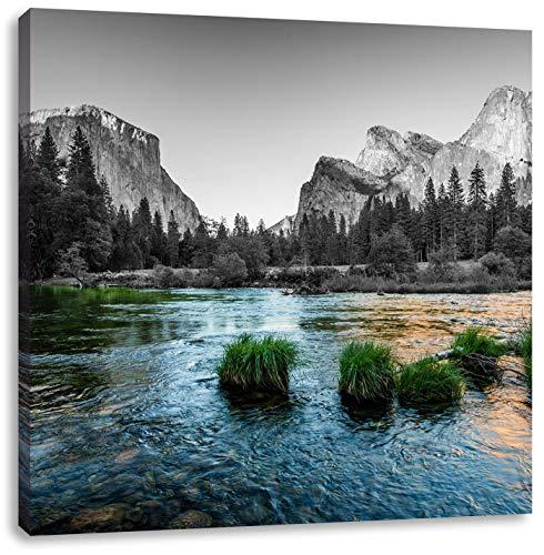 seichter Fluss vor Berglandschaft schwarz/weiß, Format: 60x60 auf Leinwand, XXL riesige Bilder fertig gerahmt mit Keilrahmen, Kunstdruck auf Wandbild mit Rahmen, günstiger als Gemälde oder Ölbild, kein Poster oder Plakat (California Und Weiß-plakat Schwarz)