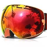 Ski Goggles, COPOZZ G1 Skiing Goggles For Snowboard Jet Snow - For Women Men Ladies Youth Teen - OTG Over Glasses Anti Fog UV Protection Helmet Compatible Interchangeable Lens Sunglasses - Orange