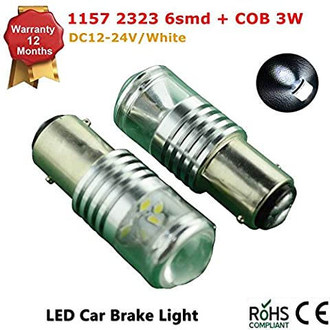2Pcs LED Car Lights Bulb 1157 S25 6 SMD 3030/2323 COB LED Backup Signal Blinker Tail Light BULBS 12V-24V Replacement for Cars -White