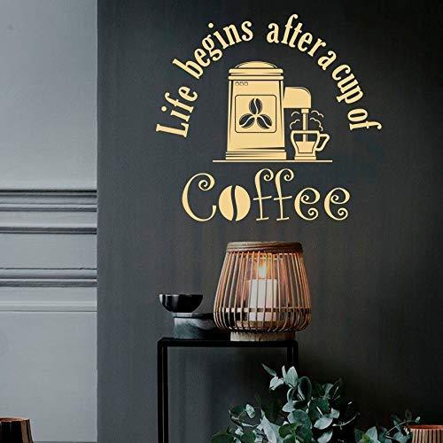 Tasse Leben Aufkleber Leben Beginnt Nach Einer Tasse Kaffee Zitate Bohnen Entspannungszeit Restaurant Café Trinken Kaffeehaus Vinyl Aufkleber 57X61Cm