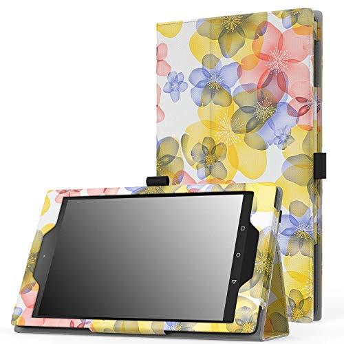 Blumen Fur Bag (MoKo Fire HD 8 2015 Hülle - Kunstleder Ständer Schutzhülle Smart Cover mit Auto Schlaf/Wach Funktion und Stift-Schleife, Blumen Blau (Nicht für Fire HD 8 2016))