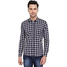 Blue White Long Sleeve Cotton Checks Shirts