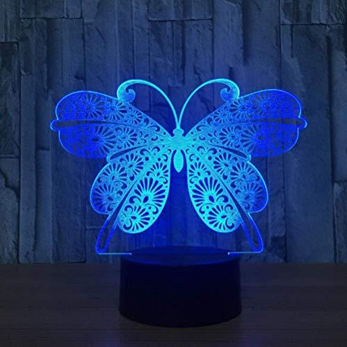 Mariposa Lámpara 3D 7 Colores Que Cambian La Luz De La Lámpara De Mesa De La Luz De La Noche Del Led Visual 3D Como Decoración Casera Lámpara De Cabecera Para El Regalo Del Niño