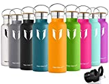 Super Sparrow Stainless Steel Vacuum Insulated Water Bottle, Double Wall Design,Standard Mouth - 500ml & 750ml & 1000ml - Eco Friendly & BPA Free - For Running, Gym, Yoga,Cycling, Outdoors and Camping, Car - Ideal as Sports Water Bottle - with 2 Exchangeable Caps (Mango, 500ml-17oz)