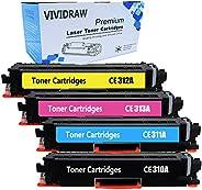 VIVIDRAW Compatible Toner Cartridge Replacement for HP 126A CE310A CE311A CE312A CE313A for HP Laserjet Pro CP