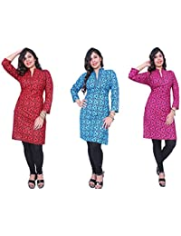 Kurti For Women Thari Choice Multi Colored 3/4 Sleeve Women Cotton Printed Fully Stitch Kurti For Women And Girls...