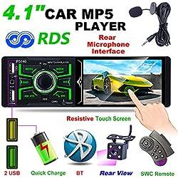 """Hoidokly Radio del Coche 1 DIN Reproductor MP5 4.1"""" Pantalla táctil para automóvil,Estéreo FM/Am/RDS Radio con Doble Puerto USB/AUX-in/SD Puerto +Cámara de Respaldo + Control del Volante+ micrófono"""