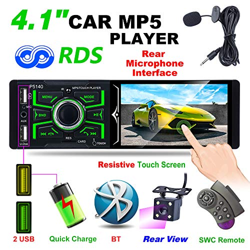 Hoidokly 4,1 Zoll 1DIN Bluetooth Autoradio mit 1080P Touchscreen, MP5-Player, FM/AM/RDS Radio, IR-Rückfahrkamera, unterstützt USB/TF/AUX Eingang, Infrarot Fernbedienung + Mikrofon