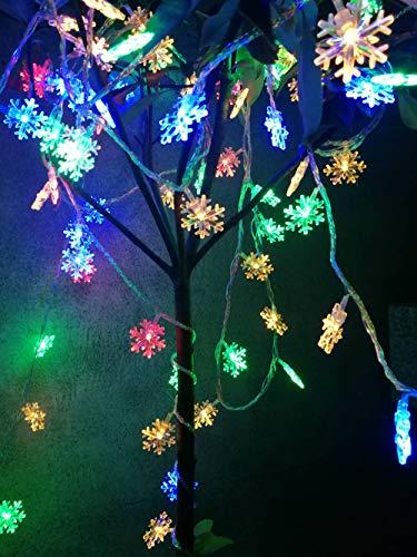 JUNMAONO 1 Satz Schneeflocke String Europäische String Lichter Weihnachtsdekoration Lichter Schneelicht,Laterne Schnurlicht,Lichterkette,String Light,10m 100 Stück Light Plug-In Stil (Farbe) -