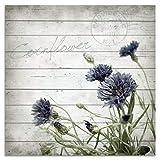 Cuadros Lifestyle Wandbild aus Holz | Holzbild | Shabby-Look | Landhaus | Cornflower/Kornblume | Vintage | Geschenk, Größe:ca. 50x50 cm