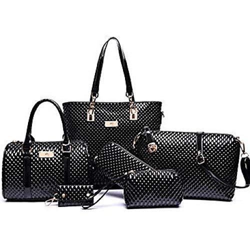 Ciliion Frauen Zipper/Embossed Bag Set Bag Setzt Polyester/PU (Polyurethan) Solid Color 6 Pieces Purse Set Yellow/Fuchsia/Braun/Schlangenhaut, Schwarz -