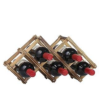 Addfun®Solid Wood Diamond Shaped Wine Rack Foldable Wine Shelves Creative Free Standing Rustic Wood Wine Bottle Holder Folding Wine Rack Organizer Display Shelf(6-Bottle Carbonized Color)