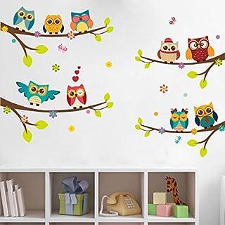WandSticker4U- Wandtattoo 9 süsse Eulen auf Ästen | Wandbild: 120x100 cm | Baum AST Blumen Vogel Schmetterlinge Zweig | Wandsticker Fenster Aufkleber Deko Babyzimmer Kinderzimmer Gross