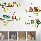 wandsticker4u -  Adesivo da parete 9gufi carini su ramo | 120x 100cm | Albero, Ramo con Fiori, Uccelli e Farfalle. adesivo decorativo per finestra, da parete, camera dei bambini.