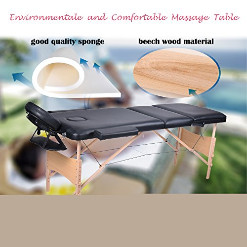 wellhome Wooden 3 Folding Massage Table Portable Massage �C Cosmetique