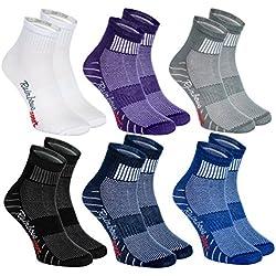 Rainbow Socks 6 pares de Calcetines Modernos, Originales y Deportivos en 6 Colores de moda. Se fabrican en la UE! Tamaños 36 37 38 Ideal para que el pie Respire! La Calidad Superior! Oeko-Tex!