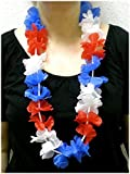 Blumenkette / Hawaiikette / Halskette - rot-weiß-blau (Frankreich, Niederlande, Russland, Kuba, USA, Tschechien, Slowake